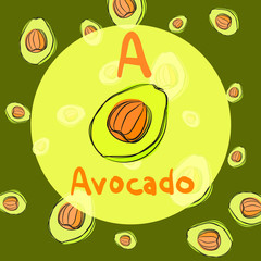 vector avocado sketch background for recipe