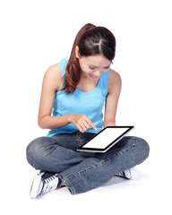 woman student sit and using digital tablet