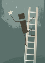 Achieving a dream. One Person climbs a ladder to catch a star