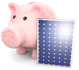 Sparschwein mit Solarpanel.