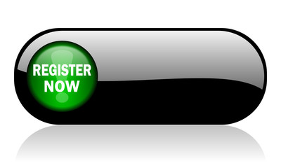 register now black glossy banner