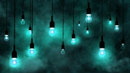 Incandescent bulbs hanging, smoke motion, light blue background