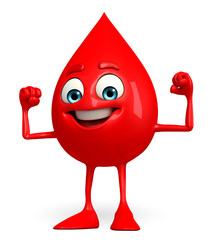 Blood Drop Character with bodybuilding pose