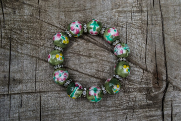wristband, big beads, green, colorful bracelet