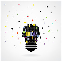 Creative puzzle light bulb Idea concept background