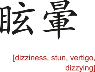 Chinese Sign for dizziness, stun, vertigo, dizzying