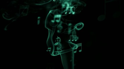 Musical notes flying up against the smoke, green