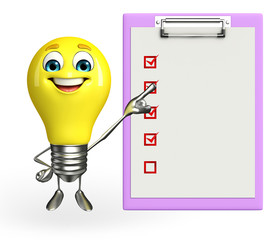 Light Bulb Character with notepad