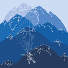 vector flying sportsmen paragliding in mountains