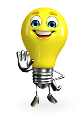 Light Bulb Character with stop pose