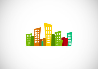 abstract city building vector logo
