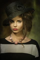 fashion female with elegant hat