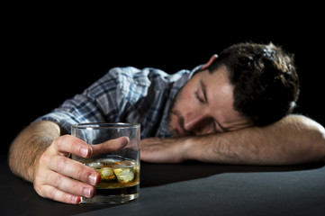 alcoholic drunk man drinking whiskey in alcoholism concept
