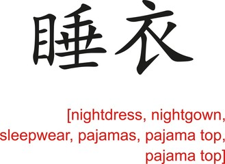 Chinese Sign for nightdress, sleepwear, pajamas, pajama top