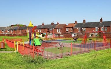 Playground and typical English buildings