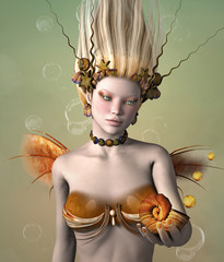 Gold mermaid with shell