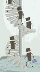 Spiral Staircase. Some people climb a spiral staircase
