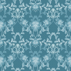 Floral seamless pattern with flowers texture gzhel on blue