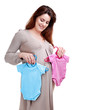 Pregnant woman shopping for boy and girl
