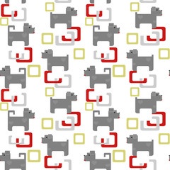 Seamless kids pattern texture with pixel dogs and geometric elem