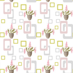 Seamless pattern with flowers in pots and geometric elements on