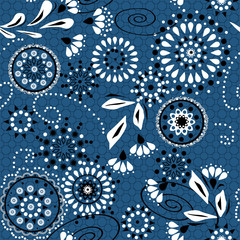 Seamless simple pattern with circles and decorative elements on