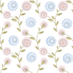 Cartoon cute fblue pink lowers seamless pattern on white