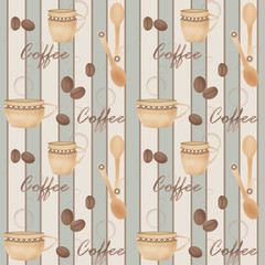 Retro seamless pattern with cup of coffe and spoon on striped