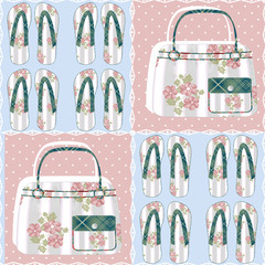 Patchwork seamless pattern with bags and flip-flops