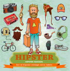 Hand Drawn Vector Illustration of fashion Hipster