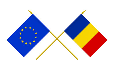 Flags, Romania and European Union