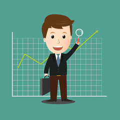 Vector of Businessman search for good investment