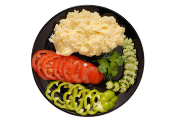 mashed potatoes and fresh vegetables