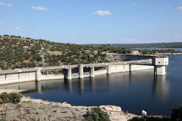 Dam at river Adaja near Avila, Castilla y Leon, Spain