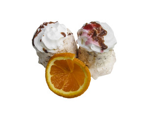 Ice cream dessert with orange slice isolated