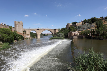 River Tagus and the San Martin Bridge in Toledo, Spain
