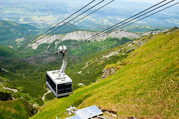 aerial tram in mountains