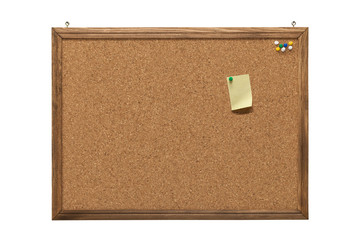 cork board with empty post-it note and pushpins