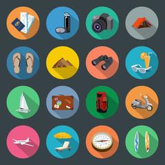 Tourism flat icons set