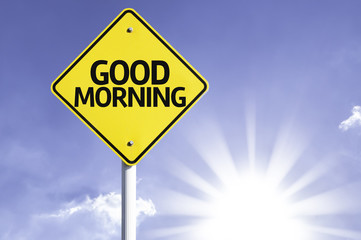 Good Morning road sign with sun background
