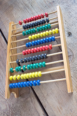 Colorful Abacus on wooden background