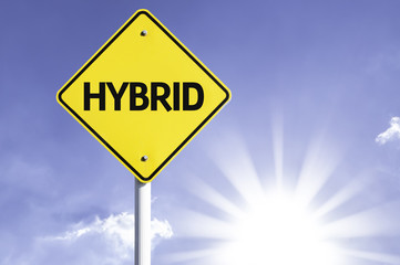 Hybrid road sign with sun background