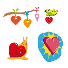 vector hearts set with snail  and bird