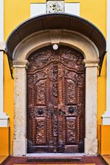 Old carved wooden church door