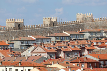 Medieval city walls and houses in Avila, Castilla y Leon, Spain