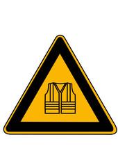 Schild mit Warnwestensymbol