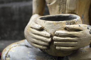 Buddhist merit. monk a alms bowl
