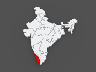 Map of Kerala. India.