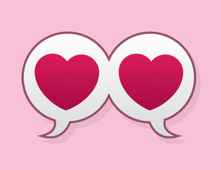 Speech bubbles connected with heart symbols