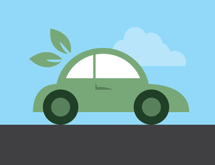 Green electric or hybrid car